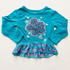 Other - Teal Floral Skirted Long Sleeve Shirt